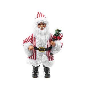 Boneco Papai Noel Enfeite de Natal Decoracao Natalina 25cm Listrado Vermelho 25cm