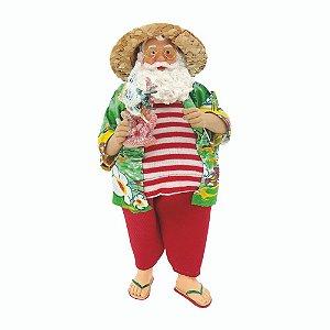 Papai Noel Decoracao Natalina Boneco Enfeite 27cm Verão Férias Turista Floral Chinelos Decorativo