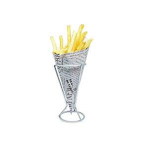 Suporte Cone para Servir Batata Frita e Petiscos Fackelmann em Metal Cromado
