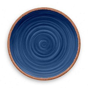 Prato de Jantar em Melamina - Ø 27 cm - Linha Rústico - Azul