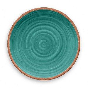 Prato de Jantar em Melamina - Ø 27 cm - Linha Rústico - Turquesa