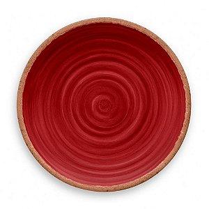 Prato de Jantar em Melamina - Ø 27 cm - Linha Rústico - Vermelho
