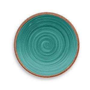 Prato de Sobremesa em Melamina - Ø 22 cm - Linha Rústico - Turquesa