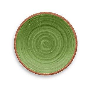 Prato de Sobremesa em Melamina - Ø 22 cm - Linha Rústico - Verde