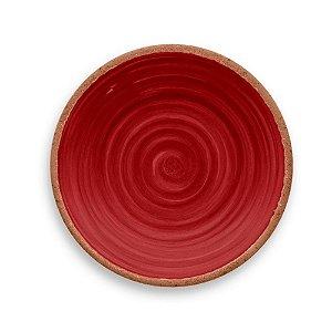 Prato de Sobremesa em Melamina - Ø 22 cm - Linha Rústico - Vermelho