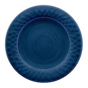 Prato de Jantar em Melamina - Ø 27 cm - Linha Craquelado - Azul