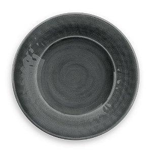 Prato de Jantar em Melamina - Ø 27 cm - Linha Craquelado - Cinza