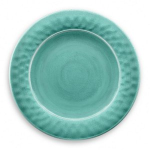 Prato de Jantar em Melamina - Ø 27 cm - Linha Craquelado - Turquesa