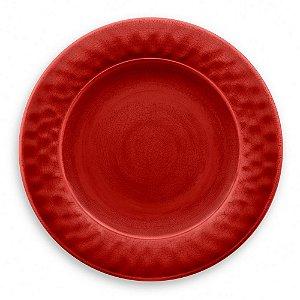 Prato de Jantar Tarhong em Melamina - 27 cm - Linha Craquelado - Vermelho