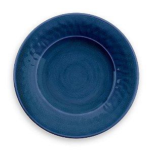 Prato de Sobremesa em Melamina - Ø 22 cm - Linha Craquelado - Azul