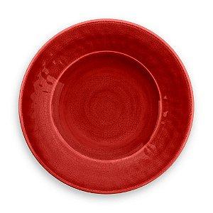 Prato de Sobremesa em Melamina - Ø 22 cm - Linha Craquelado - Vermelho