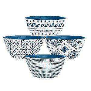 Conjunto com 04 Mini Vasilhas em Melamina - 10cm - Linha Indochina - Azul e Branco