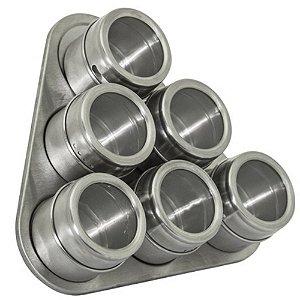 Conjunto com 06 Porta Tempero Magnético em Aço Inox Com Suporte