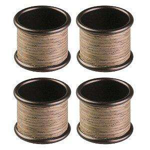 Conjunto de 4 Anéis para Guardanapo em Aço Carbono - Linha Realwood - Marrom