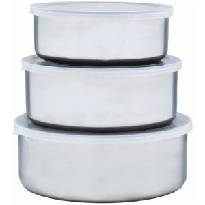 Conjunto com 3 Potes em Aço Inox Com Tampa Plastica Multiuso 18 16 e 14 CM
