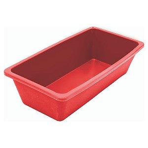 Forma Retangular Para Bolo E Pão Em Silicone - Vermelha 21cm