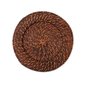 Sousplat Redondo Marrom em Rattan e Bambu Rústico Artesanal 32cm