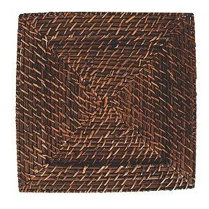Sousplat Quadrado em Rattan e Bambu 32cm Rústico