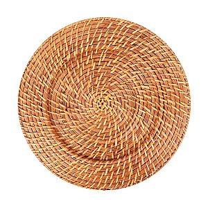 Sousplat Redondo em Rattan e Bambu 32cm Rústico Artesanal