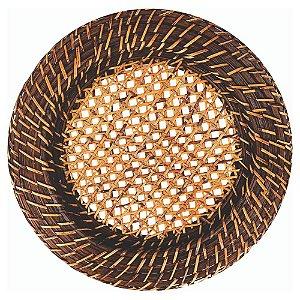 Sousplat Redondo em Rattan e Bambu Com Fundo Tela 33cm Rústico