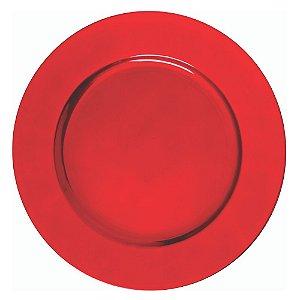 Sousplat Redondo Liso Vermelho em Polipropileno 33cm
