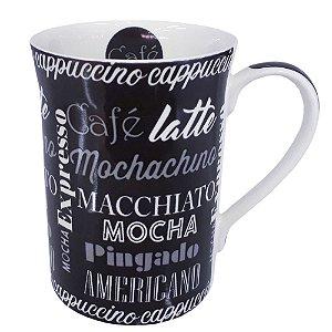 Caneca em Porcelana 320 ML Chá e Café Preto Fosco