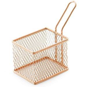 Cesta com Alça para Servir Petiscos Batata frita Retangular em Aço Inox e Bronze 9cm