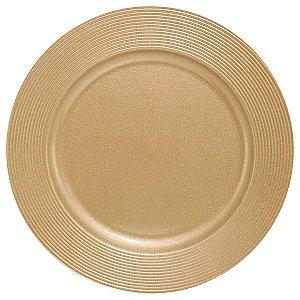 Sousplat Disco Dourado em Polipropileno para Pratos 33cm Com Borda Relevo