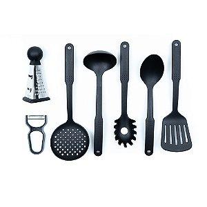 Conjunto de Utensílios para Cozinha Yazi em Nylon Resistente e Aço Inox 7 Peças Cozinha Completa