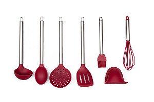 Conjunto de Utensílios para Cozinha Yangzi em Silicone Resistente e Aço Inox 7 Peças Cozinha Completa
