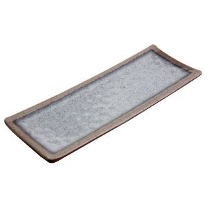 Travessa Retangular Melamina 31 X 11 cm Cinza Nippon com Brilho Japonês e Petiscos