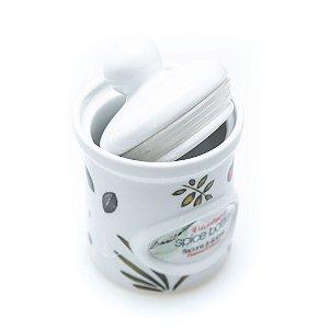 Porta Tempero Especiaria Branco em Porcelana com Vedação interna Remova o Selo e Escreva o nome Tempero no Pote