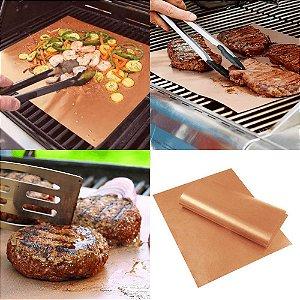 Conjunto 2 Mantas Grill em Teflon Antiaderente Para Assar Carnes Legumes na Churrasqueira Sem Gordura Reduz Fumaça