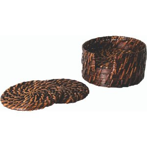 Porta Copos em Rattan 06 Peças Com Suporte 12 X 6 cm Rústico Mesa Posta Chique