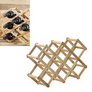 Suporte Rack Adega Retrátil 8 Garrafas Vinho em Bambu Compacto