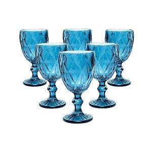 Jogo 06 Taças Vinho 240 ML Bico Abacaxi Azul Vitral Verre Requinte Mesa Posta