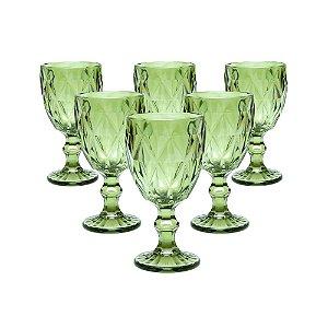 Jogo 06 Taças Vinho 240 ML Bico Abacaxi Verde Vitral Verre Requinte Mesa Posta
