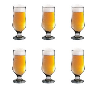 Conjunto 06 Taças Cerveja 280 ML Vidro Lourenço Copo Vitrizi Requinte Mesa
