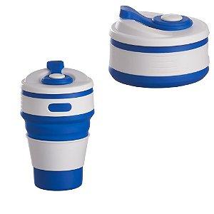 Copo Retrátil Dobrável Reutilizável Ecológico 350ml Silicone Azul