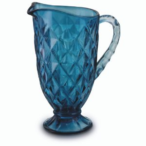 Jarra Vidro Agua Suco 1,2 Litros Azul Bico Abacaxi Vitral Luxo Requinte