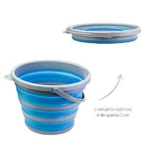 Balde Dobrável Clean 10 Litros Plástico Retrátil Azul Desmontável Organização Ocupa Pouco Espaço