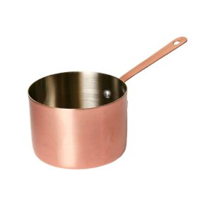 Mini Panela Para Servir em Aço Inox  e bronze cor Rosé Gold