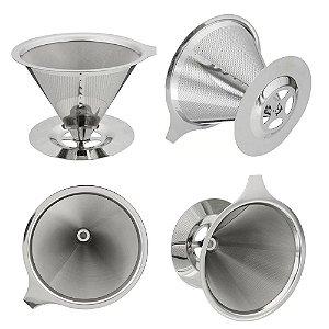 Coador De Café Pour Over Em Aço Inox Reutilizável Sem uso Papel Qualidade Superior