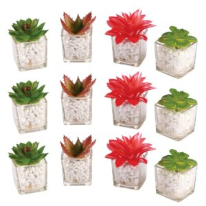 Kit 12 Mini Planta Flor Artificial Suculenta Atacado Vaso Vidro Casa Decoração Ambientes