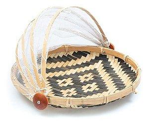 Cesto Porta Pão Bolo Bambu Redondo Cobertura Retrátil Artesanal 30 X 30 X 18 cm Protetor Alimento