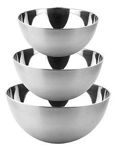 Conjunto 03 Bowl Em Aço Inox Polido 9 Cm x 13 Cm x 15 Cm Tigela Multiuso Cozinha Completa