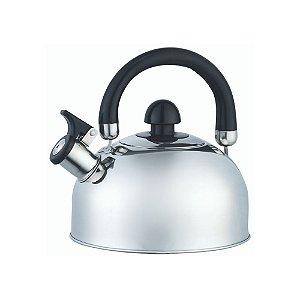Chaleira Inox 2 Litros Com Apito Alça Móvel Basic Água Quente Chá Café Cozinha Completa Mundiart Premium