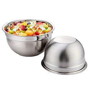 Conjunto 2 Bowl Aço Inox 28 e 30cm Tigela Multiuso Profissional Fundo Cozinha Completa Gourmet KeHome