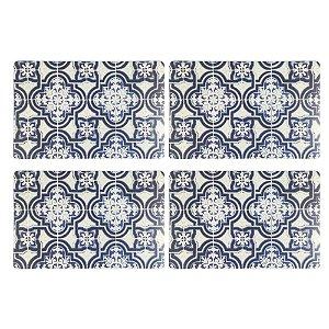 Jogo Americano Polipropileno Retangular 04 Lugares Estampado Blue Tiles Cozinha Mesa Posta