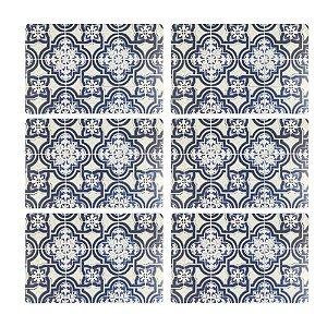 Jogo Americano Polipropileno Retangular 06 Lugares Estampado Blue Tiles Cozinha Mesa Posta